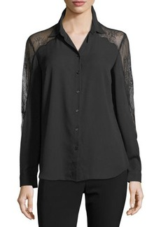 Tahari ASL Long-Sleeve Crepe Button Down Shirt