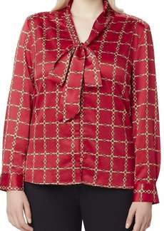 Tahari ASL Long Sleeve Low Bow Blouse Top
