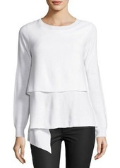 Tahari ASL Long-Sleeve Ribbed Asymmetric Sweater