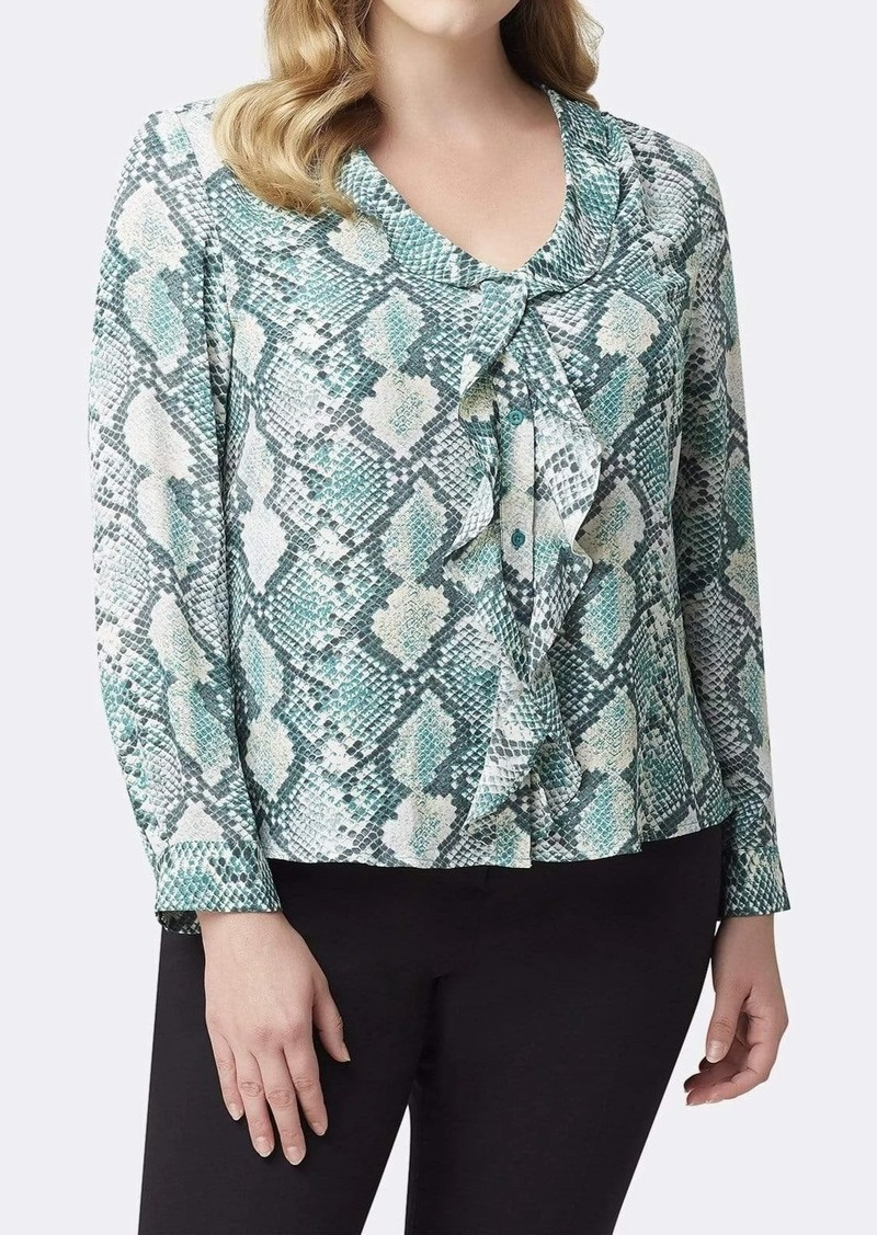 Tahari ASL Long Sleeve Ruffled Snake-Print Blouse Top