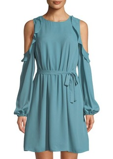 Tahari ASL Matty Ruffled Cold-Shoulder Dress