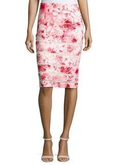 Tahari ASL Mesh-Inset Floral-Print Pencil Skirt