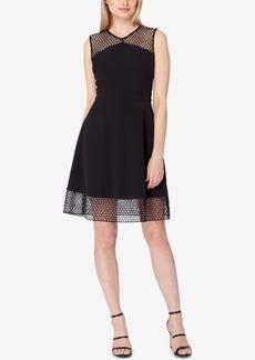Tahari Asl Mesh-Trim Fit & Flare Dress