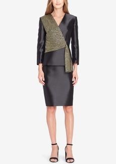 Tahari Asl Metallic Asymmetrical Skirt Suit