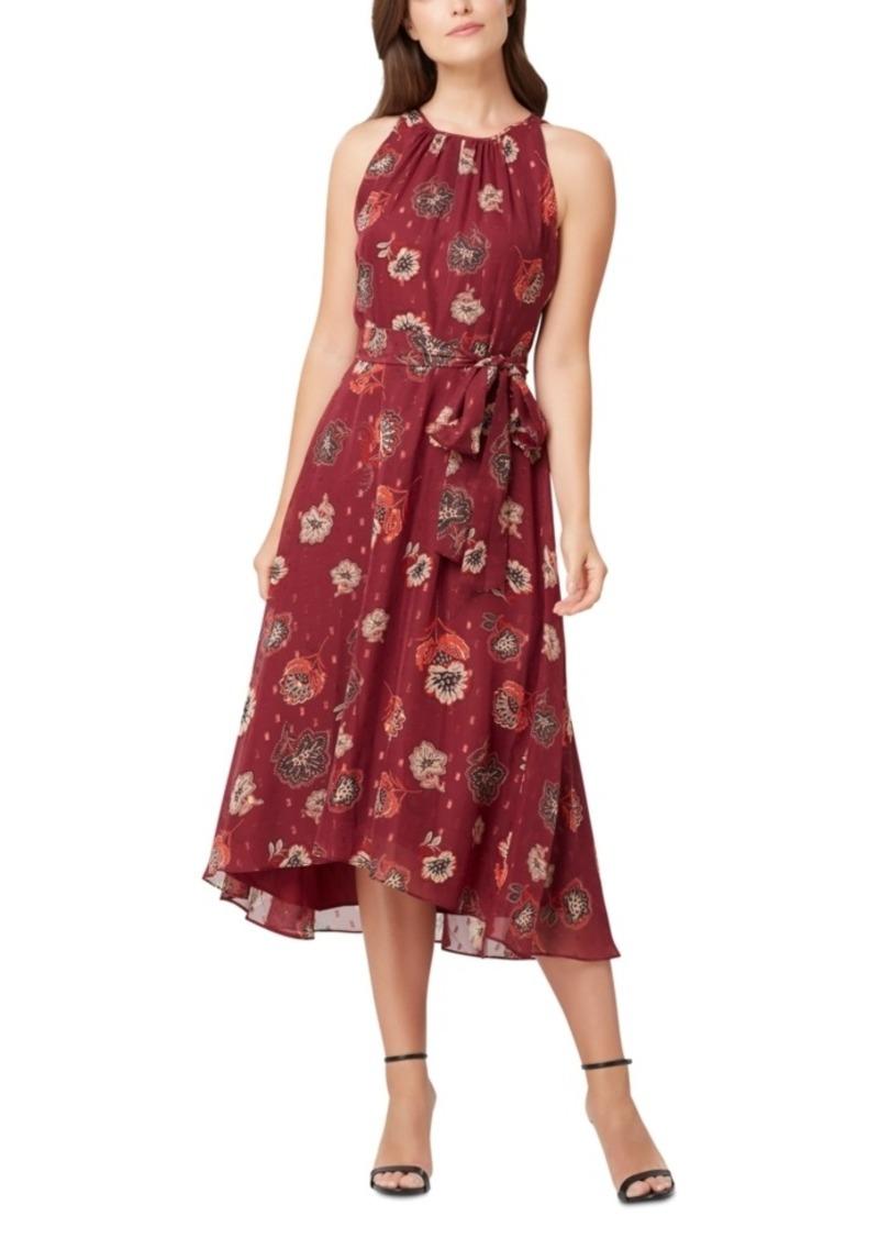 Tahari Asl Metallic Chiffon Belted Midi Dress