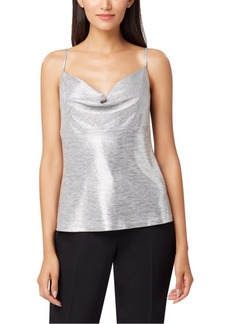 Tahari Asl Metallic Cowlneck Top