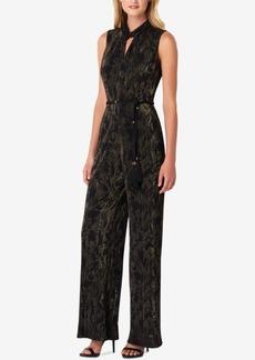 Tahari Asl Metallic Crinkle-Pleated Jumpsuit