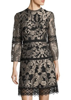 Tahari ASL Metallic Embroidered Shift Dress