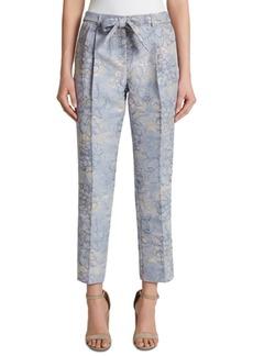 Tahari Asl Petite Metallic Floral-Print Tie-Front Pants