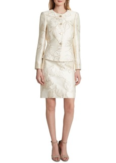 Tahari Asl Metallic-Floral Skirt Suit