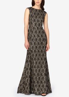 Tahari Asl Metallic Glitter Lace Gown