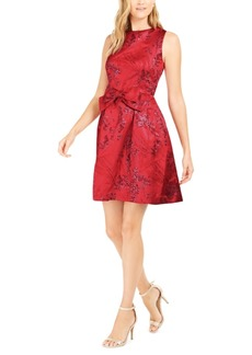 Tahari Asl Metallic Jacquard Bow-Front Dress, Created For Macy's