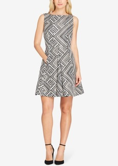 Tahari Asl Metallic Jacquard Fit & Flare Dress