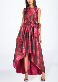 Tahari Asl Metallic Jacquard High-Low Gown