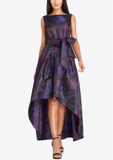 Tahari Asl Metallic Jacquard High-Low Gown