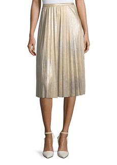 Tahari ASL Metallic Pleated Midi Skirt