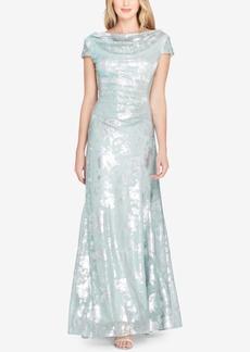 Tahari Asl Metallic-Print Draped Gown