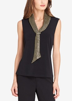 Tahari Asl Metallic Sailor Blouse, Regular & Petite