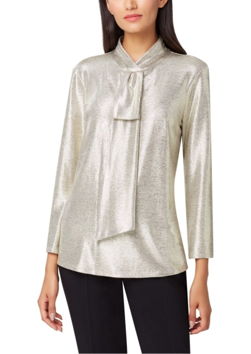 Tahari Asl Petite Metallic Sash-Neck Top