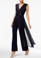 Tahari Asl Metallic Surplice Jumpsuit