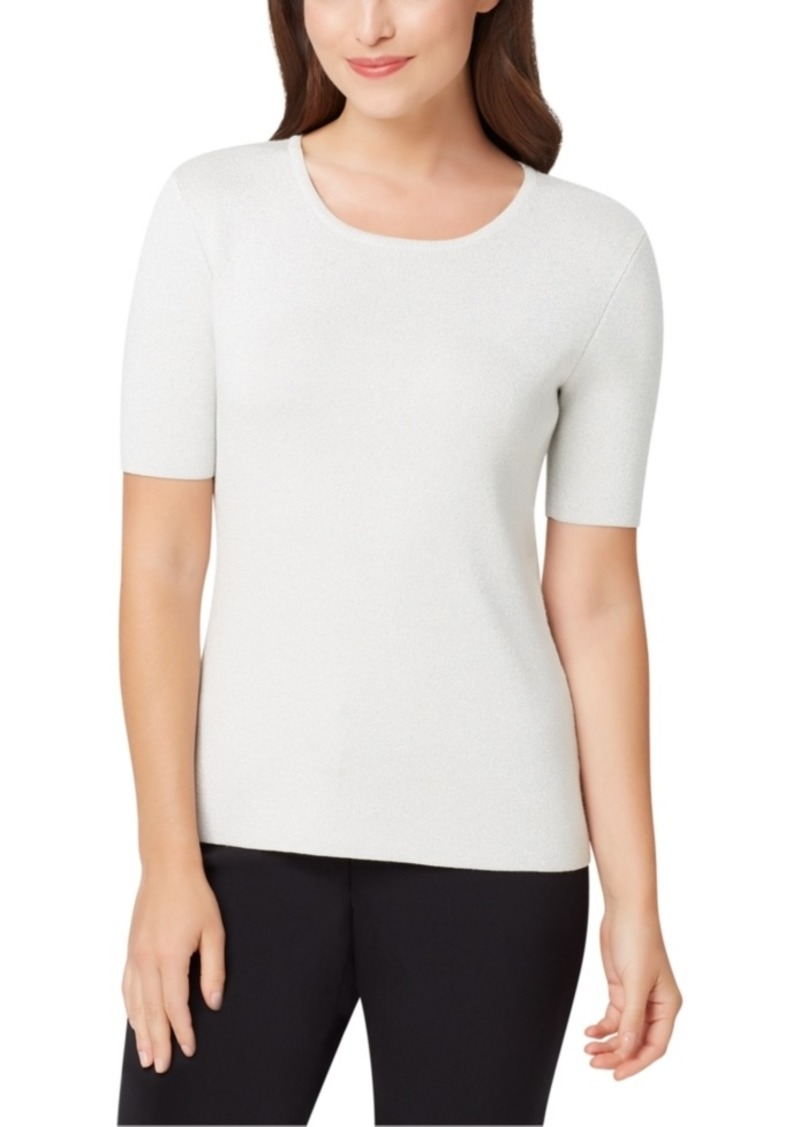 Tahari Asl Metallic-Threaded Short-Sleeve Sweater