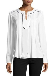 Tahari ASL Miley Lace-Up Blouse