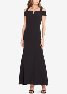 Tahari Asl Notched Off-The-Shoulder Gown