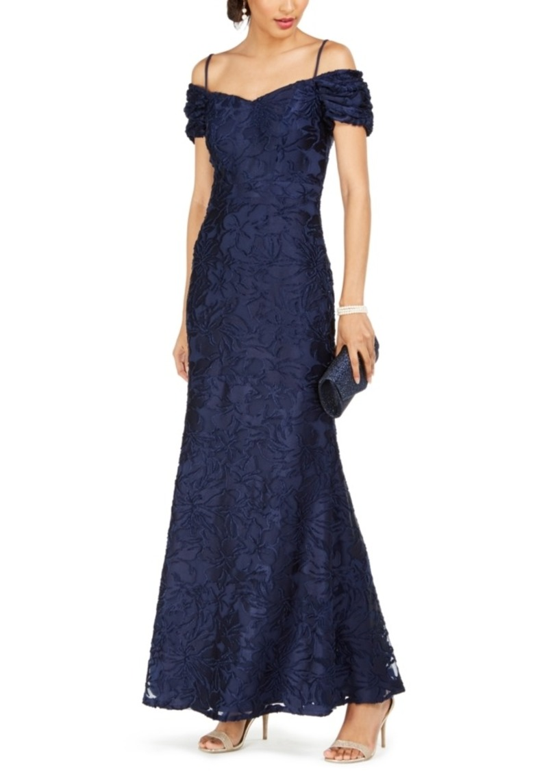 Tahari Asl Off-The-Shoulder Burnout Velvet Gown