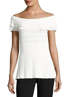 Tahari ASL Off-the-Shoulder Peplum Blouse