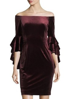 Tahari ASL Off-The-Shoulder Velvet Midi Dress