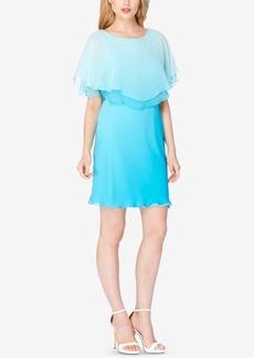 Tahari Asl Ombre Chiffon Capelet Dress