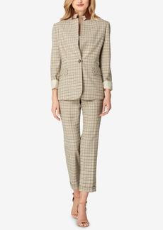 Tahari Asl One-Button Plaid Pantsuit