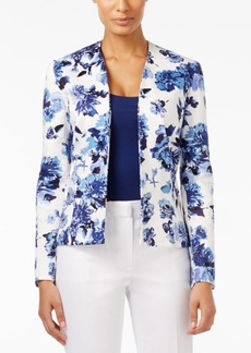 Tahari Asl Open-Front Floral-Print Poplin Jacket