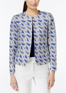 Tahari Asl Open-Front Printed Jacquard Jacket