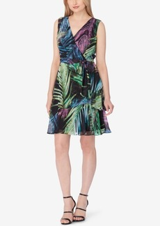 Tahari Asl Palm-Print Faux-Wrap Dress