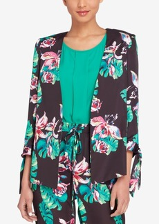 Tahari Asl Palm-Print Tie-Sleeve Jacket, Regular & Petite