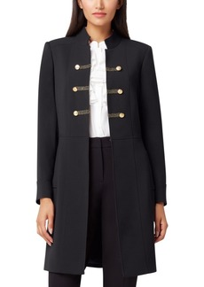 Tahari Asl Stand-Collar Double-Breasted Military Jacket