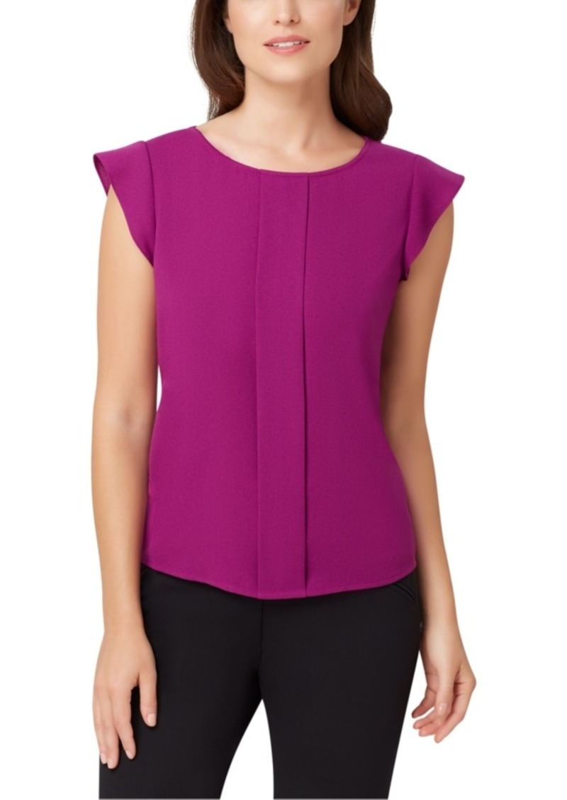 Tahari Asl Pleated-Front Cap-Sleeve Blouse