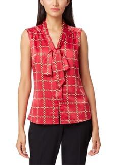 Tahari Asl Petite Chain-Print Tie-Neck Blouse