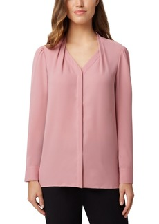 Tahari Asl Collarless Georgette Blouse
