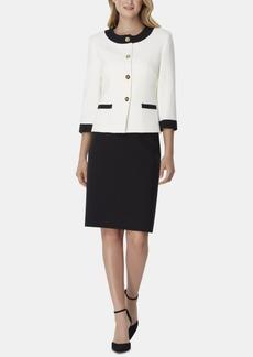 Tahari Asl Contrast-Trim Skirt Suit