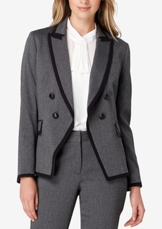 Tahari Asl Double-Breasted Contrast-Trim Jacket