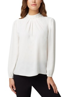 Tahari Asl Faux-Pearl Pleat-Neck Blouse