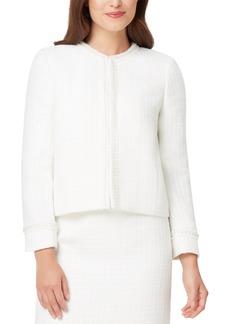Tahari Asl Embellished Fringed-Trim Tweed Jacket