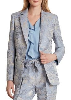 Tahari Asl Petite Metallic Floral-Print Blazer