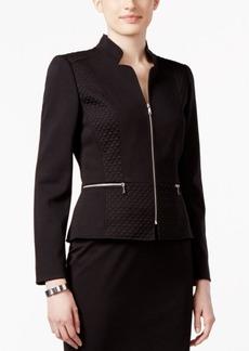 Tahari Asl Petite Ponte Quilted Zip-Front Jacket