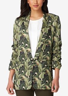 Tahari Asl Printed Ruched-Sleeve Blazer
