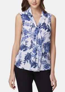 Tahari Asl Floral-Print Tie-Neck Top