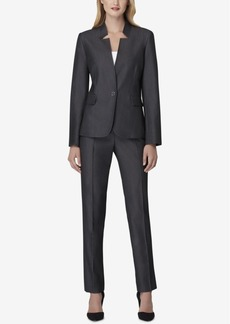 Tahari Asl Petite Star-Neck One-Button Pantsuit