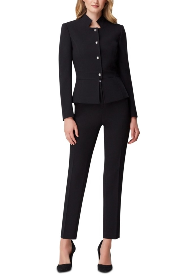 Tahari Asl Petite Star-Neck Pants Suit